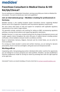 Medidee medical devices services- Job opportunity- consultant-Germany