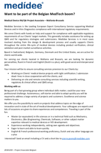 Job opportunity- recruitment- medidee medical services. Belgium