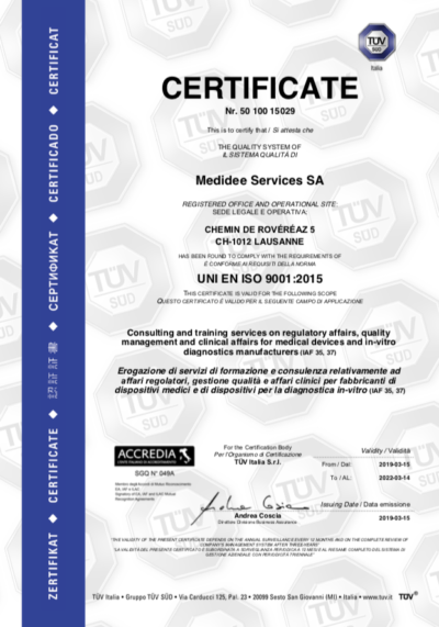 medidee iso9001 certificate
